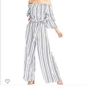 Flying Tomato Striped Wide Leg Jumpsuit Sz Small